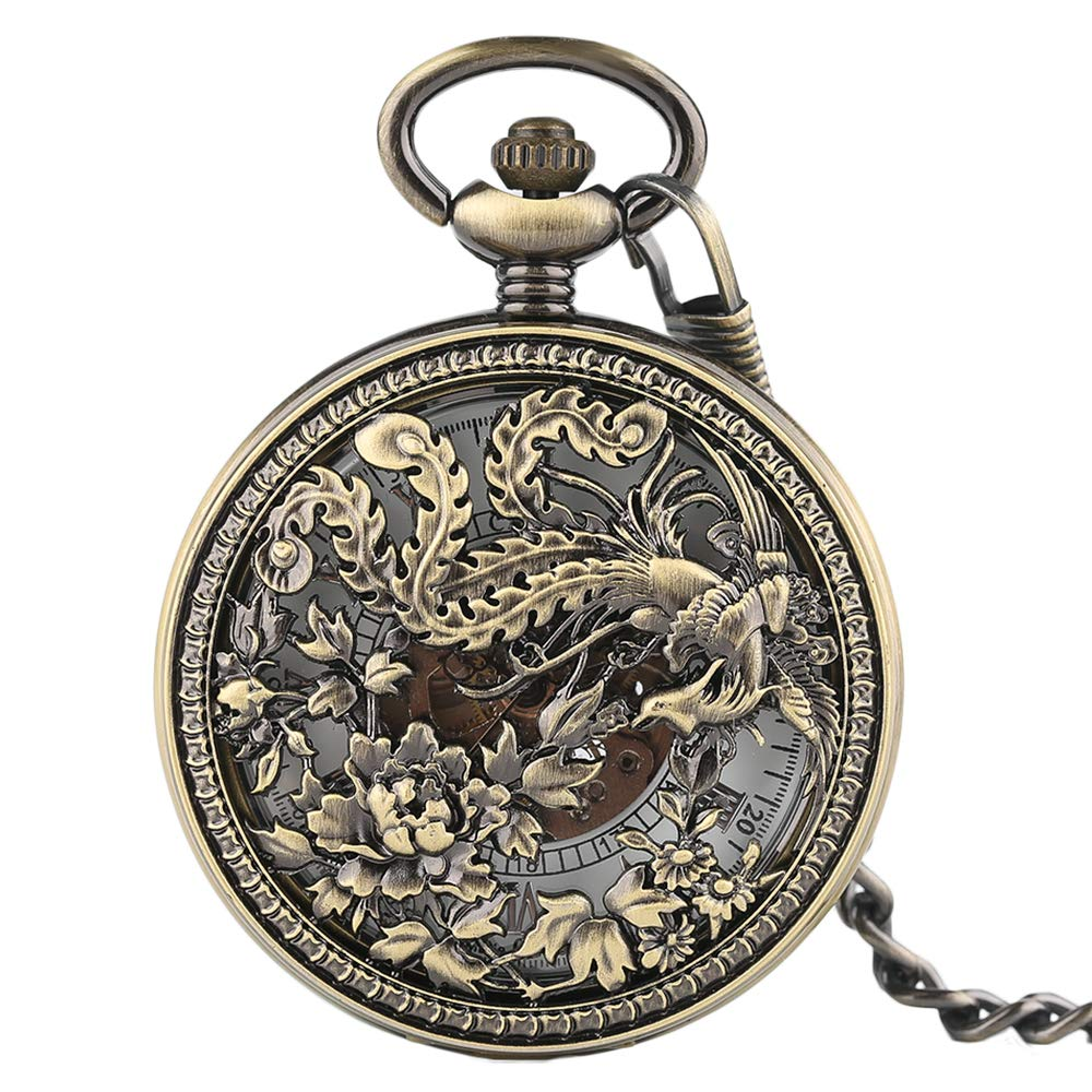 Flying Phoenix Mechanical Pocket Watch, Chinese Style Pocket Watches, Unique Gifts for Family Friends by mygardens