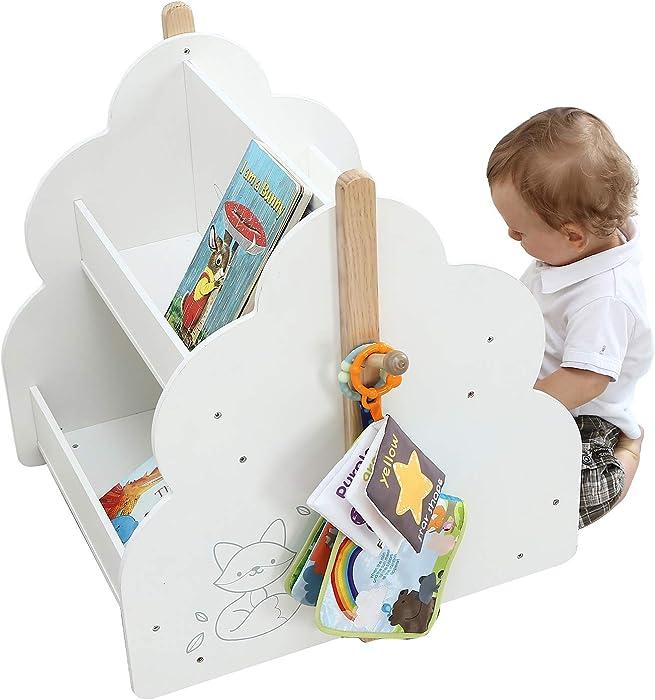 labebe Kid Bookshelf with Wheels, Wood Kid Bookshelf (White Bird Printed) for 1 Year Up, Book Rack/Kid Bookshelf/Child Bookshelf/Toddler Bookshelf/Child Book Display/Kid Small Bookshelf Toy Storage
