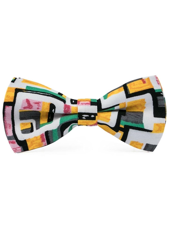 Mens Green Yellow White /& Black Cotton Bow Tie Hanky Cufflinks Set