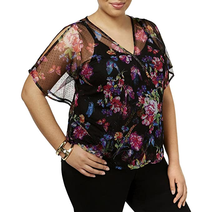 62258bde8f736 Image Unavailable. Image not available for. Color  INC International  Concepts Plus Size Butterfly-Sleeve Blouson Top ...
