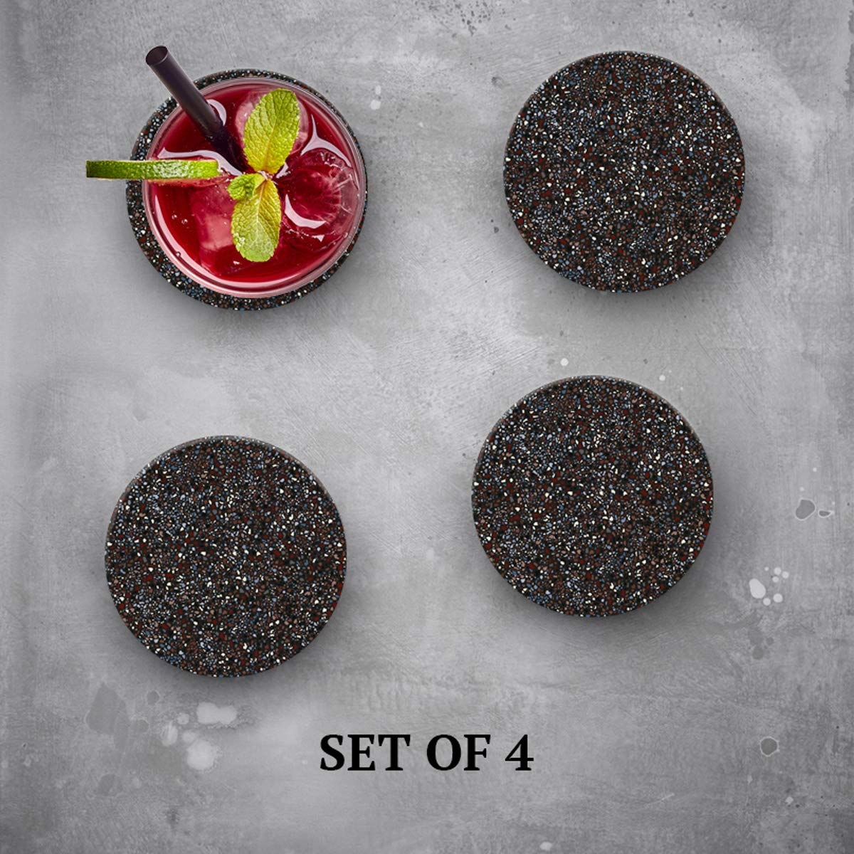 Terrazzo Dark - Absorbent Stone Coasters for Drinks 4 inch Set of 4 - Large Modern Round Natural Ceramic Water Absorb Spill Coaster with Non-slip Cork Backing for Mugs and Cups by Lecoster (Image #3)