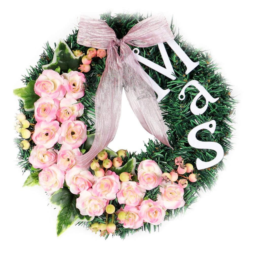 Couronne Décoration de Noël Couronne D'automne Guirlande de Noël Artificielles Fait à Main, Couronne de Fleurs Idéal Déco Noël pour Jardins, Maisons, l'intérieur, l'extérieur, Mariages, Fêtes de Noël l' intérieur l' extérieur 332PageAnn
