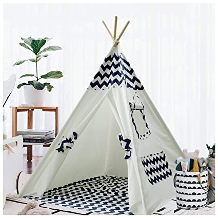 online store 1bcf0 e33f9 Teepee Tent for Kids Teepee Play Tent Mat for Boys Indoor Outdoor Play  House Tent Indian Canvas Tipi Tent Wigwam Children Navy Chevron Tee Pee