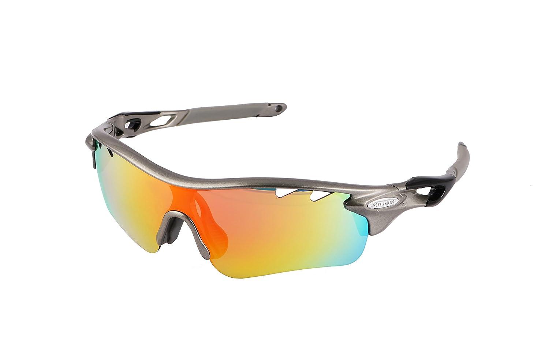 Gafas ciclismo polarizadas con 5 lentes intercambiables UV 400. Gafas deportivas, Running trail running, ciclismo BTT, para Hombre y Mujer (Gris): ...