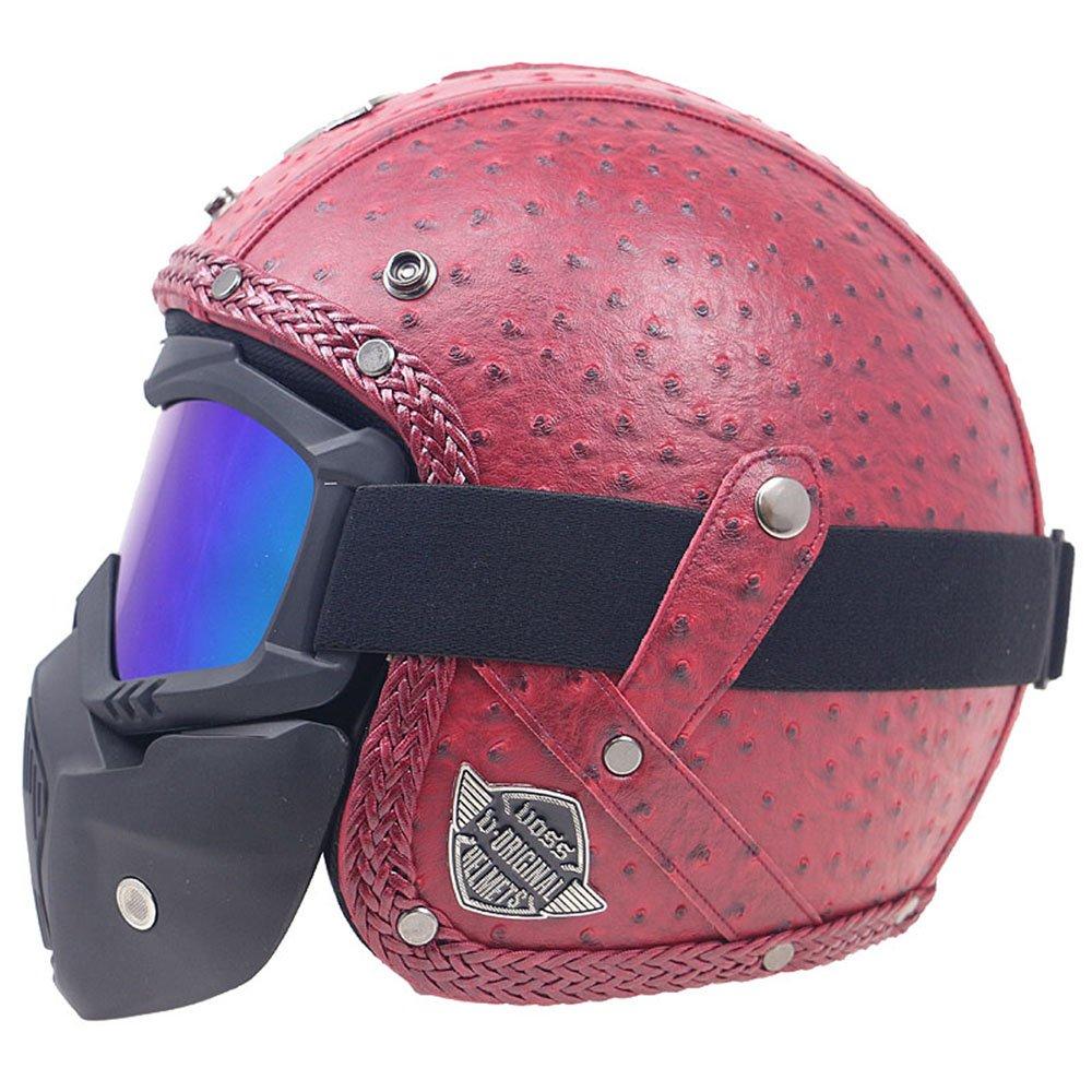 KKmoon Caschi in pelle PU retro faccia antivento e sandproof 3//4 moto integrale Rosso con Occhiali L