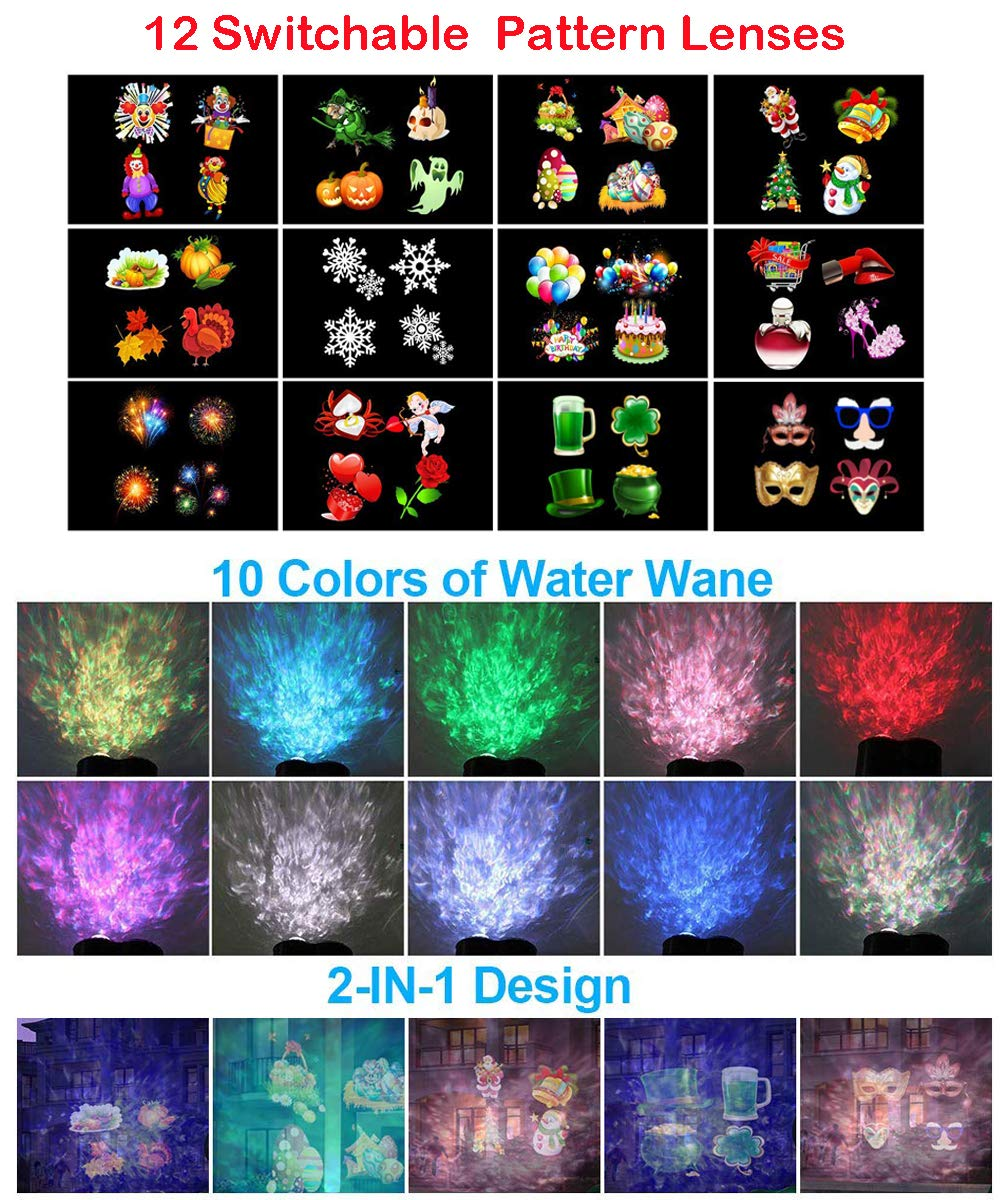 Water Wave Light,Christmas Light Projector, 2 in 1 Ripple Ocean Light with 12 Slides Patterns, Waterproof Outdoor/Indoor Landscape Decoration Lighting for Christmas, Halloween, Birthday Party (Black)