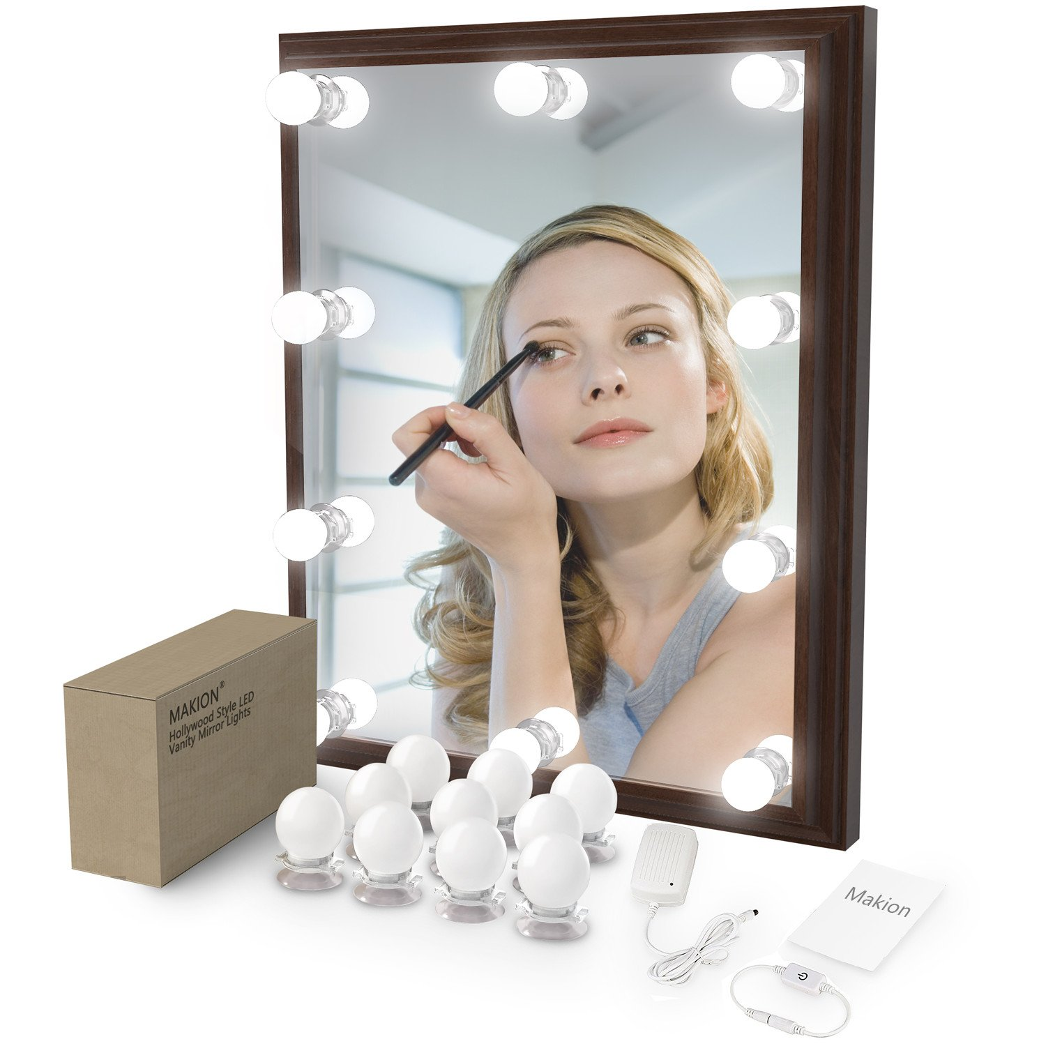 【2018 Upgrade Version】Hollywood Style 10 LED Bulbs Vanity Mirror Lights Kit with Dimmable Light Bulbs, 3 x Installation method and Super Bright Bulb,Lighting Fixture Strip for Makeup Vanity Table Set