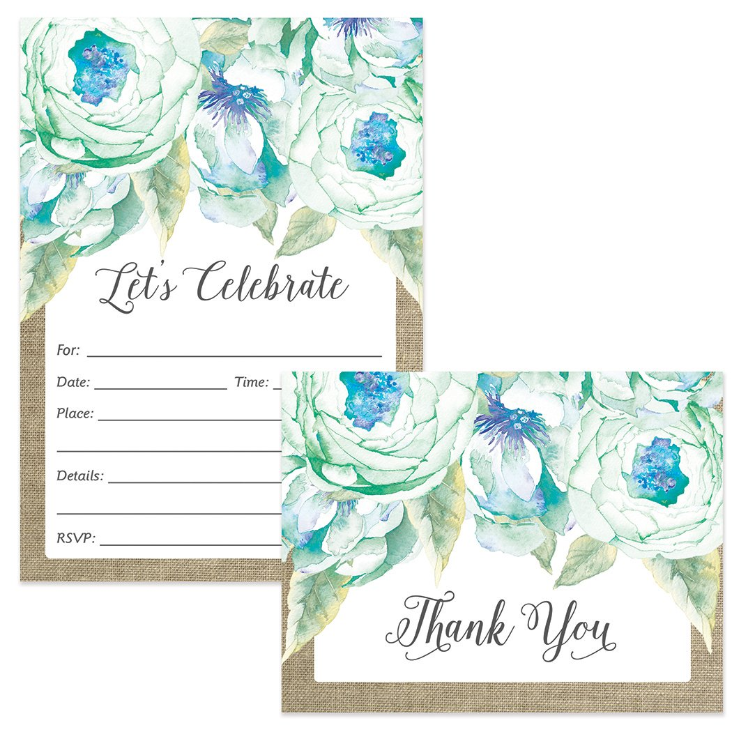 Any Occasion Invitations Matching Thank You Notes Set With Envelopes 25 Of Each Lovely Blue Flower Blooms Birthday Party Bridal Shower Fill In Style
