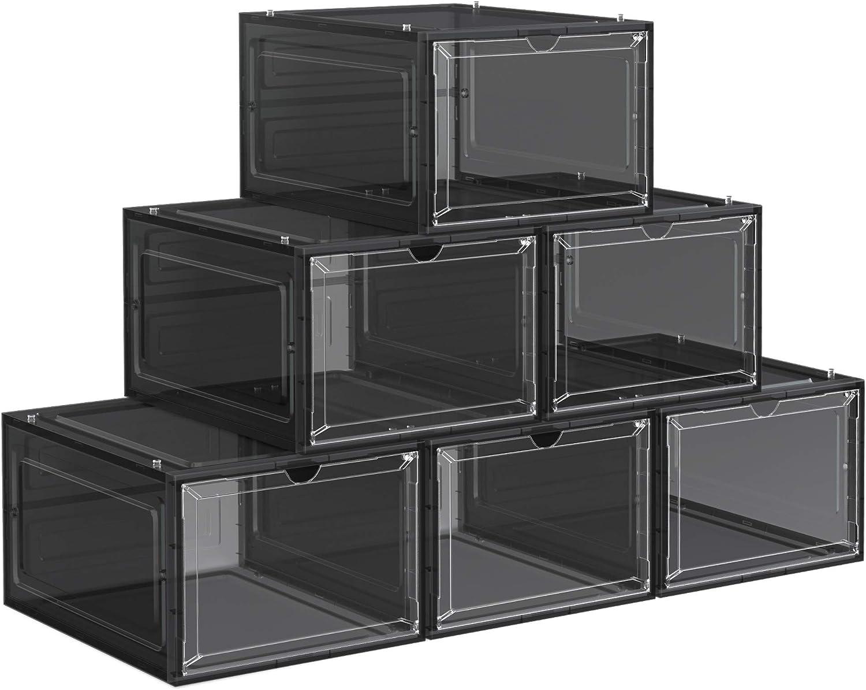 SONGMICS Cajas de Zapatos, Cajas Plástica Apilable para Zapatos, Juego de 6 Organizador de Zapatos, Ahorro de Espacio, Fácil Montaje, 27 x 34,5 x 19 cm, hasta Talla 45, Negro LSP032B06