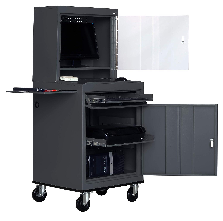 Sandusky Lee JG6625-02 Steel Mobile Computer Security Workstation, 150 lb Capacity, 26 Width, 63 Height, 24 Depth, Charcoal