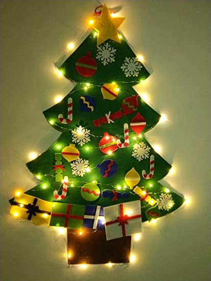 night gring 32 ft felt wall hanging christmas trees set with 50 led lights christmas