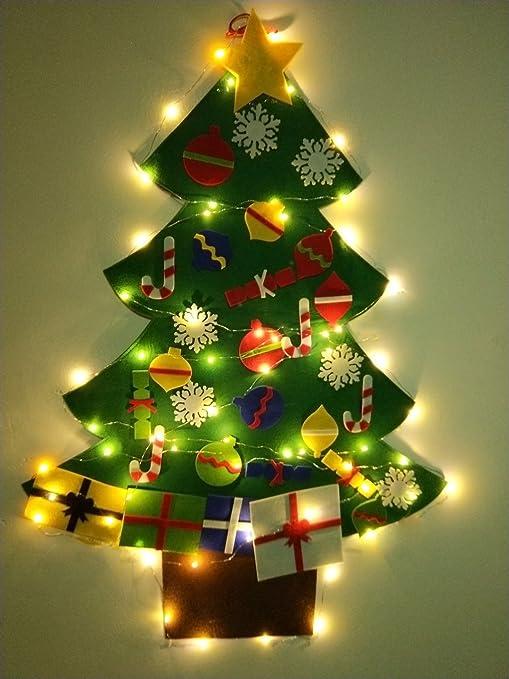 Wall Christmas Trees.Night Gring 3 2 Ft Felt Wall Hanging Christmas Trees Set With 50 Led Lights Christmas Tree Xmas Ornaments