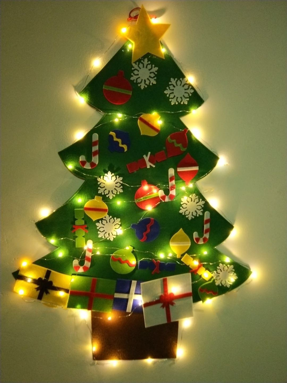 NIGHT-GRING 3.2 Ft felt Wall Hanging Christmas Trees set with 50 LED Lights Christmas Tree xmas Ornaments