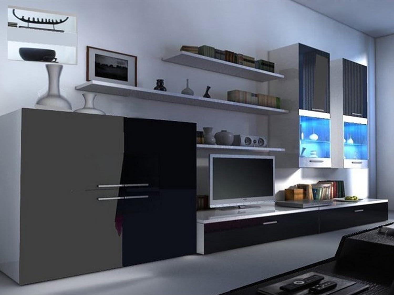 Beta negro brillante y blanco mate moderno gabinetes de la unidad de pared para televisor, estantes, pantalla con LED – ideal para sala de estar/Dormitorio/Studio plano – Amazing calidad. Apto para Plasma/LED/ televisores