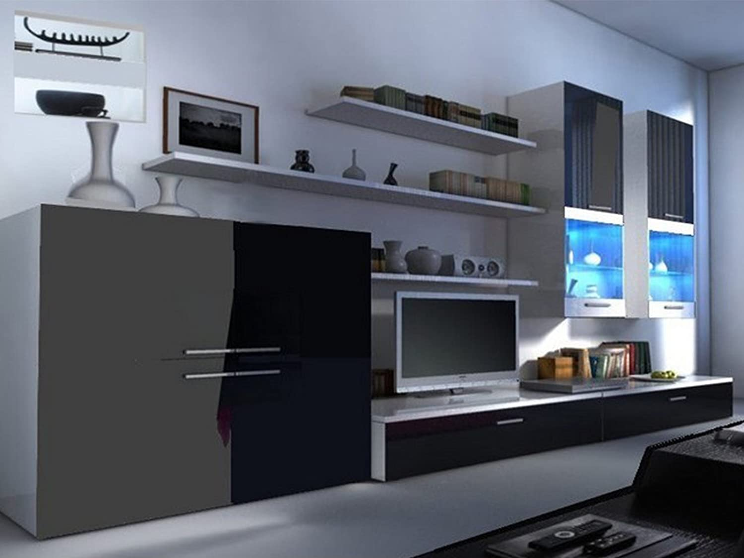 Beta Living Room Set   High Gloss Entertainment Package | Wall Units | TV  Stand | LED Lights | Floating Shelves | Cabinets (Black U0026 White):  Amazon.co.uk: ...