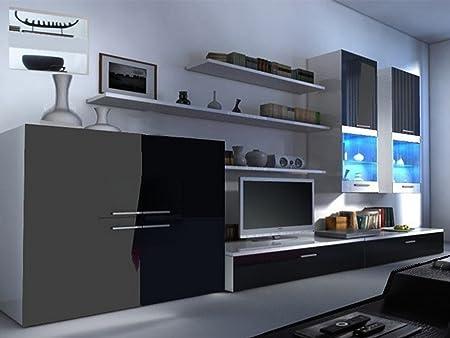 Beta Living Room Set High Gloss Entertainment Package Wall Units - White gloss wall units living room