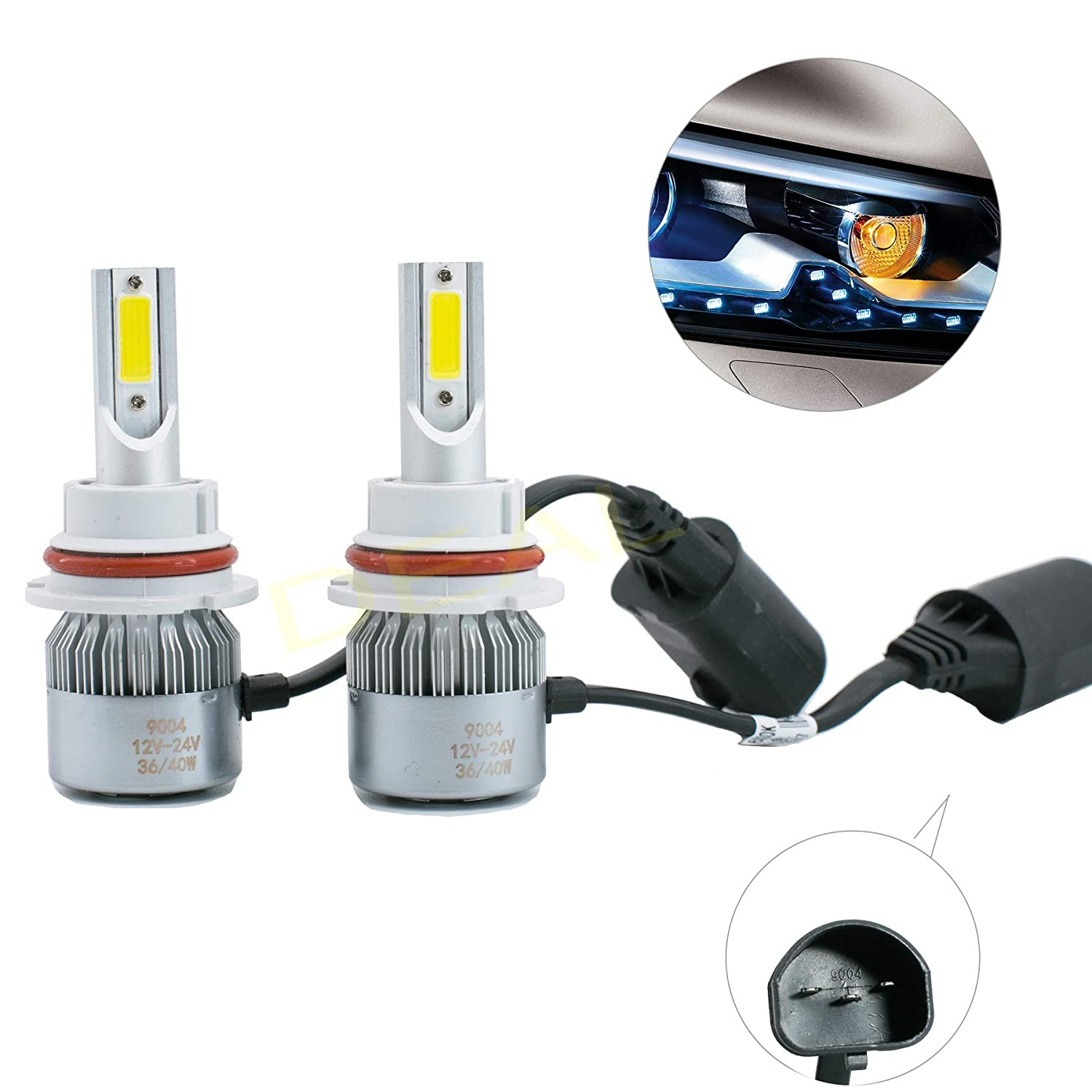 DEAL 2pcs 9004//HB1 6000K White 7200LM Aluminum Housing LED COB Bulbs Conversion Kit For Headlights High Low Dual Beam DC 12V//24V IP67 Waterproof Pack of 2 Left+Right Replacement