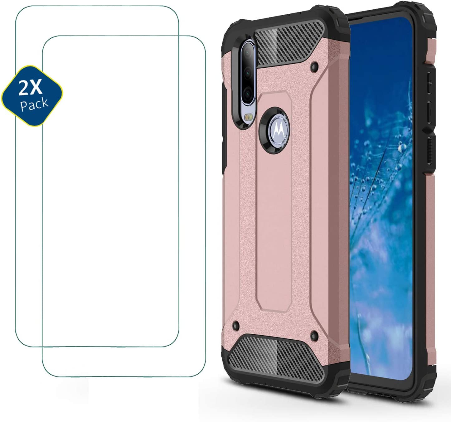 2 Pack Screen Protector for Motorola One Action Rugged four-corner airbag drop-proof phone case for Motorola One Action HUUH Case Black