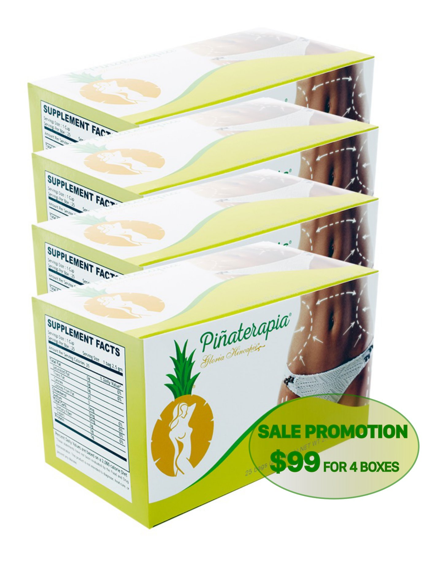 PINEAPLE Tea - Te de piña, Box Pack of 4