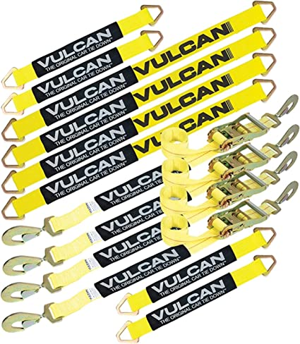 2 x 114 - Pack of 4 3,300 lbs. Safe Working Load Vulcan Silver Series 1-Ply Flexible Axle Tie Down Combo Strap w//Snap Hook Ratchet