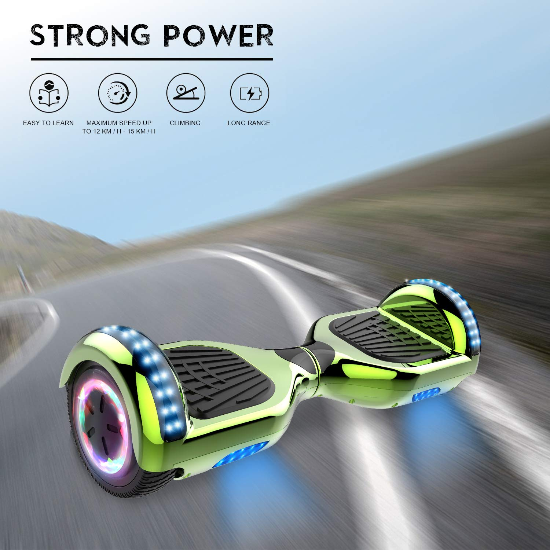 RCB Hoverboard elettrico Scooter elettrico con Hoverkart Go-Kart Costruito in luci a LED Bluetooth Speaker regalo per bambini e adulti UL2272 ruote 6.5