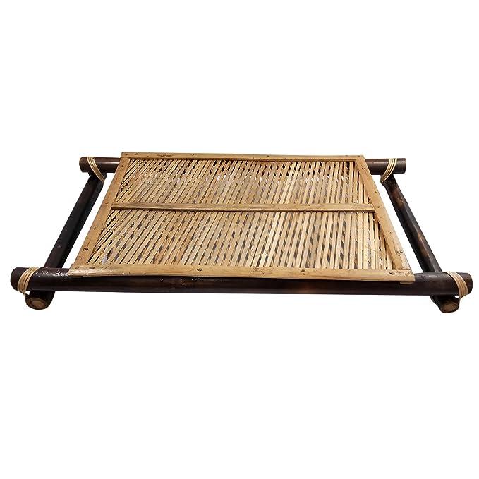 Pure bandeja de bambú y cristal con asa de bambú 6 hecho a mano Artesanía bambú arte uso para hogar y oficina decoración con lujo Feel | mejor Eco-friendly ...