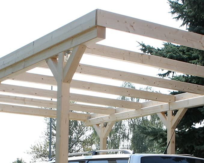 Amazon.es: Madera CarPort tejado plano madera maciza Kvh para cultivo pared 3000 x 5000 mm