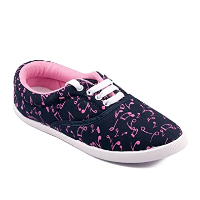Asian shoes Amy-23 Navy Blue Pink Women Canvas Shoes  Buy Online at Low  Prices in India - Amazon.in 7ec6fcacf
