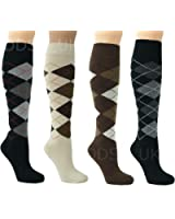 6 PAIR MENS LONG HOSE COTTON RICH ARGYLE GOLFING SPORT KNEE HIGH SOCKS UK 6-11