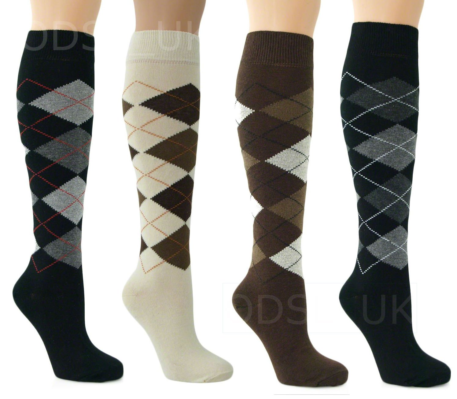 6 PAIR MENS LONG HOSE COTTON RICH ARGYLE GOLFING SPORT KNEE HIGH SOCKS UK 6-11 FRESH FEEL