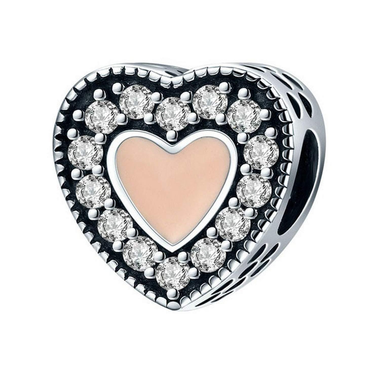 EverReena Sparkling /& Sweet Love Heart Silver Beads Bracelets