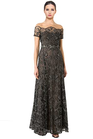 Marchesa Notte Illusion Off-The-Shoulder Embroidered Evening Gown ...