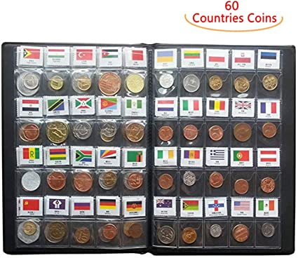Lots 120 Countries Regions Coins Collection Books World Currency With Flags