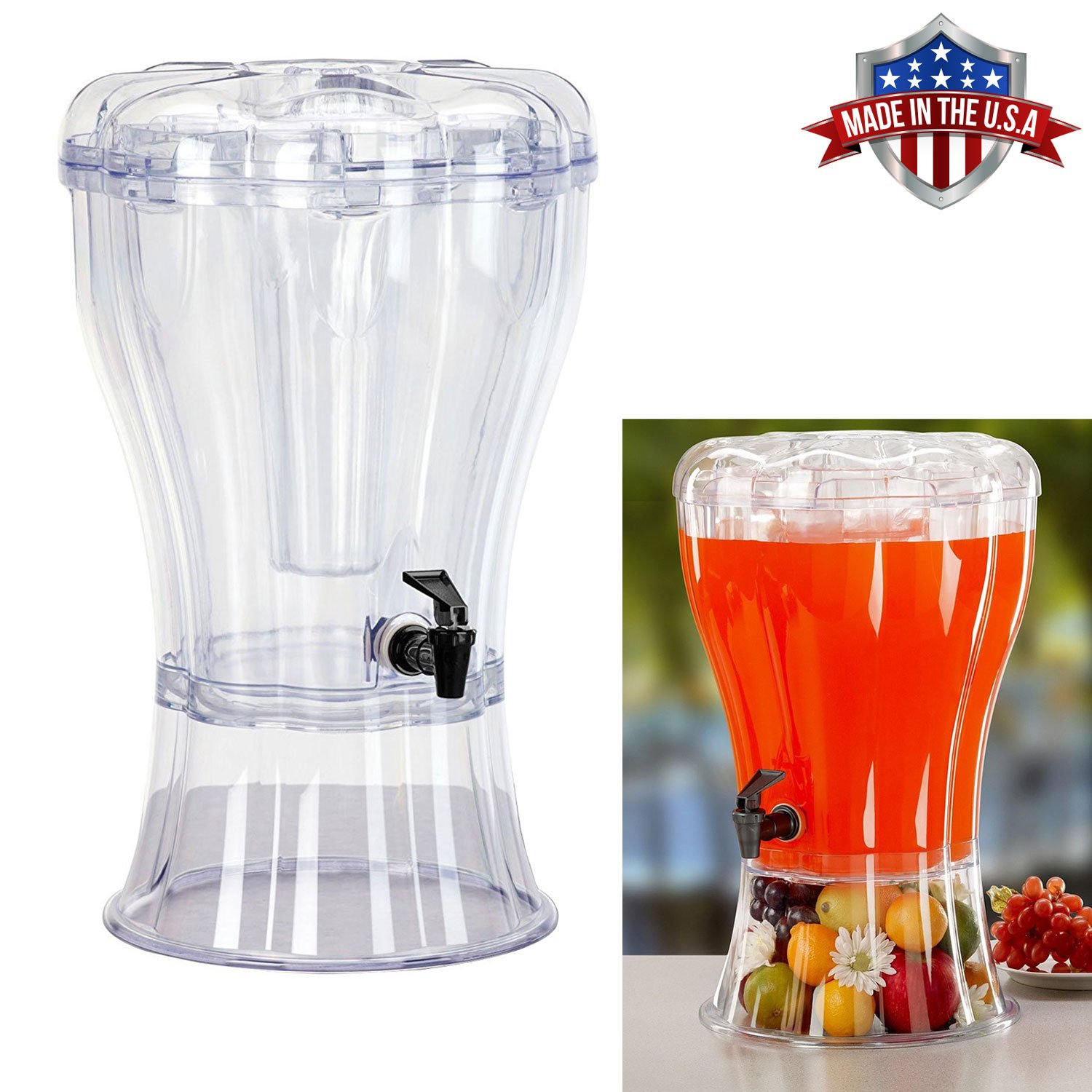 Cold Beverage Drink Dispenser Unbreakable 3.5 Gallon BPA Free with Ice Cone, Parties, Weddings, Catering, Events HowPlumb 00-DRINK-DISPENSER-085