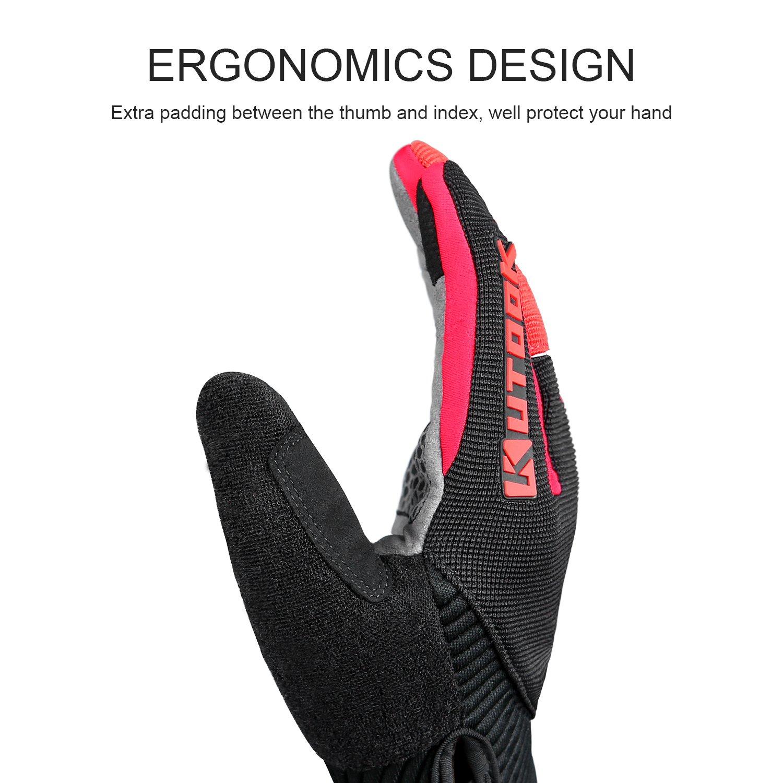 KUTOOK Guantes Ciclismo Gel Almohadilla de Completos Dedos para Bicicleta MTB