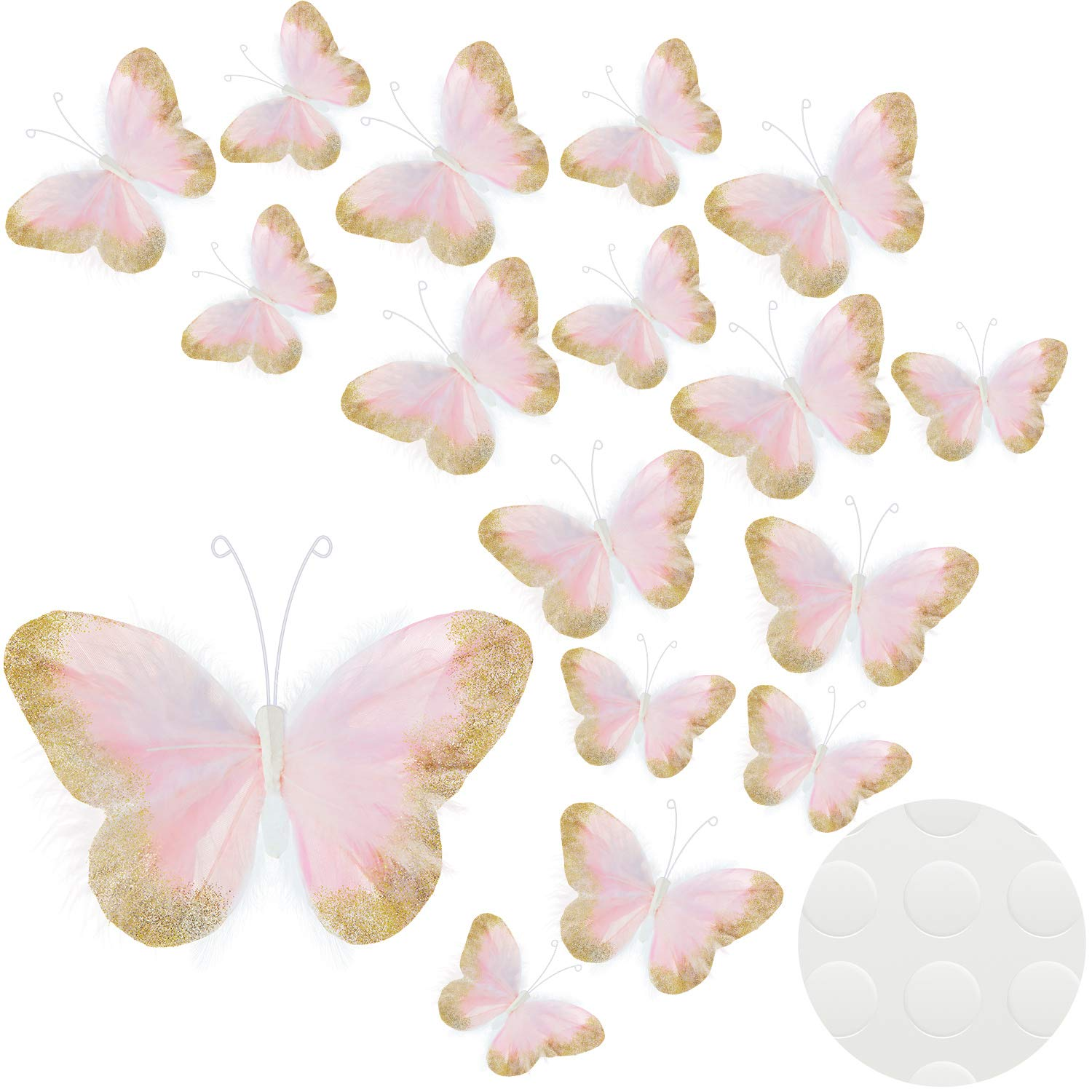 16 Pieces Feather 3D Butterfly Wall Decals Gold Glitter Butterfly Decor Stickers for Room Home Nursery Classroom Offices Kids Girl Boy Bedroom Bathroom Living Room Decor (Pink)
