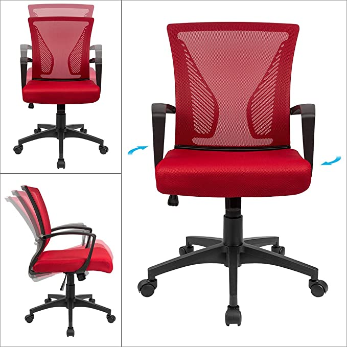 Amazon.com: Furmax Office Chair Mid Back Swivel Lumbar Support Desk Chair, Computer Ergonomic Mesh Chair with Armrest (Red): Kitchen & Dining
