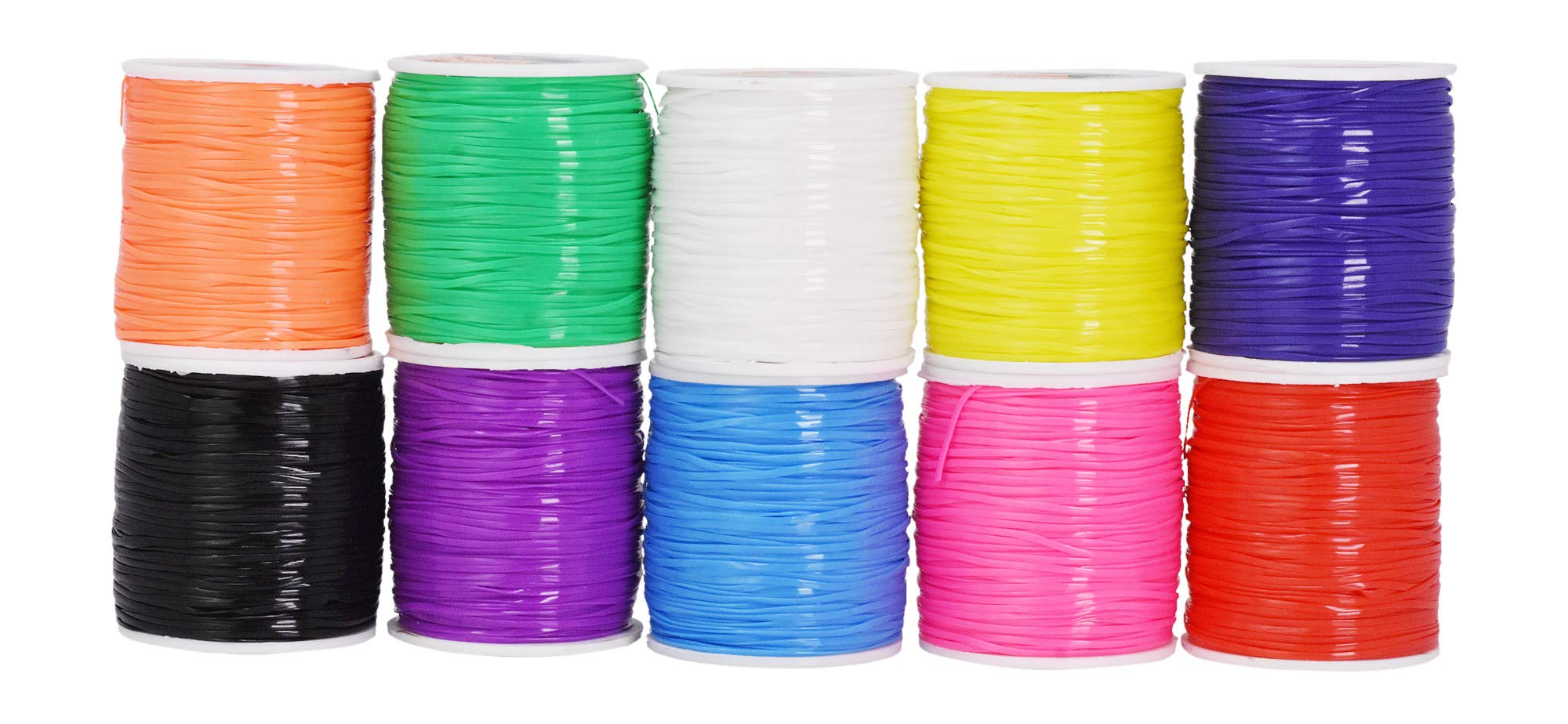 Mandala Crafts Plastic Lacing Cord Kit for Key Chains, Bracelets, Necklaces, Lanyards, Jewelry Making (Rainbow, 1.5mm) by Mandala Crafts