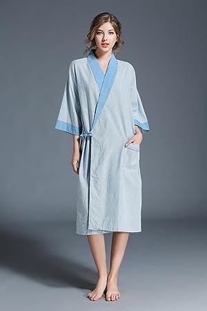 ALJL Kimono del Traje de algodón Suelta Batas de algodón Amantes Ocasionales del Traje de baño de Gran tamaño de la Comodidad Transpirable,Blue,One Size: ...