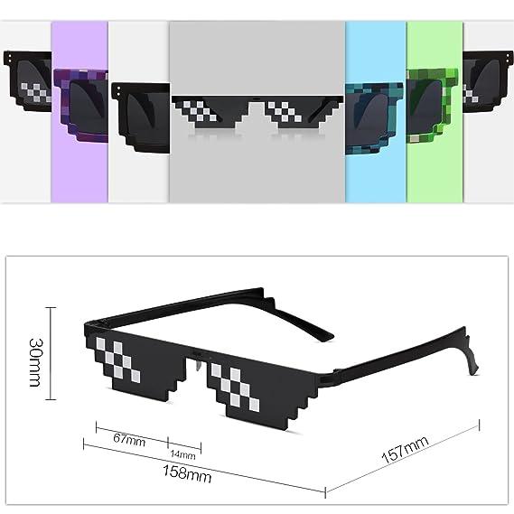 SOJOS Thug Life Glasses 8 Bit Style Pixel Unisex Sunglasses SJ2049
