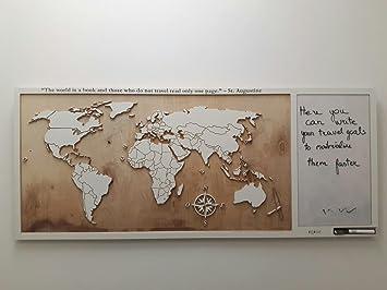 Carte Du Monde En Bois Décoration Murale En Bois Cadeau
