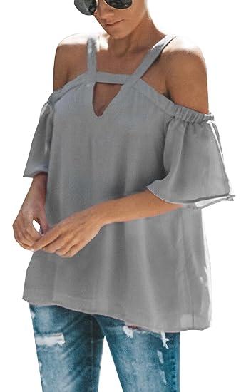 Smalltile Verano Tops Mujer Moda Sin Hombro Backless T-Shirt Personalidad Blusa de Gasa Sexy Cuello V Media Manga Camiseta de Tirantes tee: Amazon.es: Ropa ...