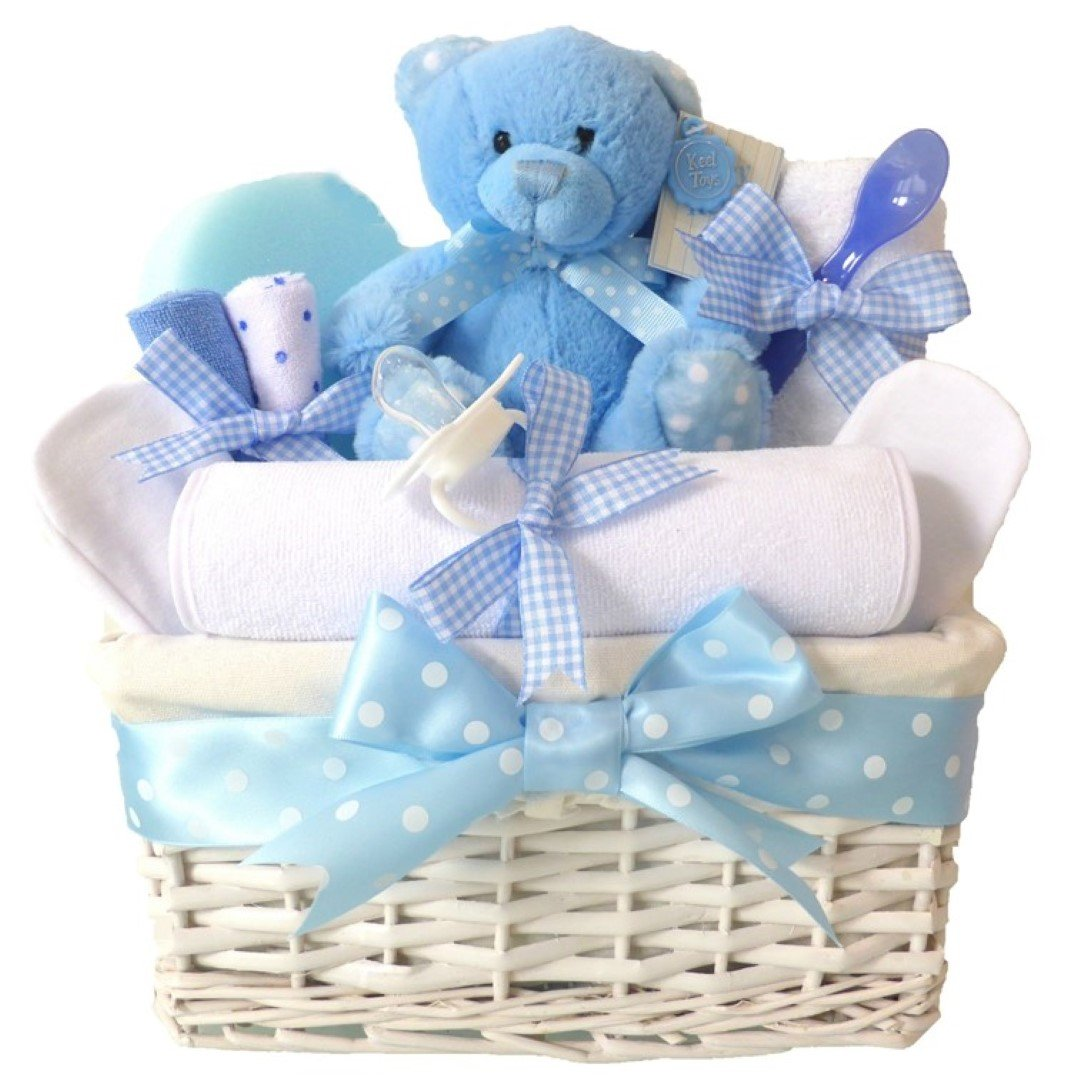 Angel Baby Boys Gift Hampers Blue Newborns Baskets⼁Newborn Baby Shower Boy Gifts Basket Hamper⼁Unique New Born Babies Showers Arrival Sets ⼁Maternity Set for Mum Parents Nappy Presents⼁FAST DISPATCH Pitter Patter Baby Gifts