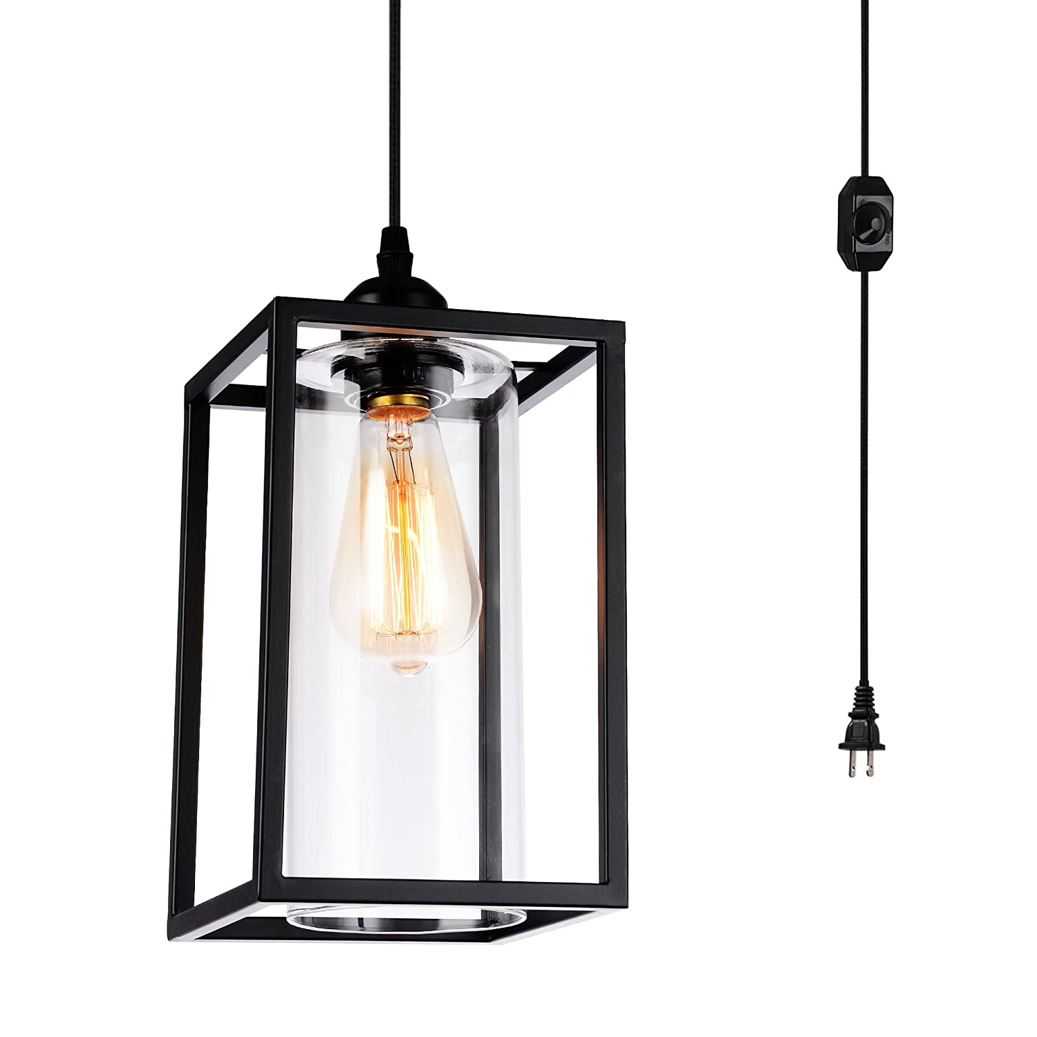 Hmvpl plug in pendant lighting fixtures with long hanging cord and dimmer switch vintage metal hanging chandelier swag ceiling lamp with glass shade