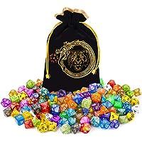 CiaraQ DND Dice Set 20 X 7 Polyhedral Dice (140pcs) with 1 Large Flannel Bag, D&D Dice ( D4 D6 D8 D10 D% D12 D20) for…