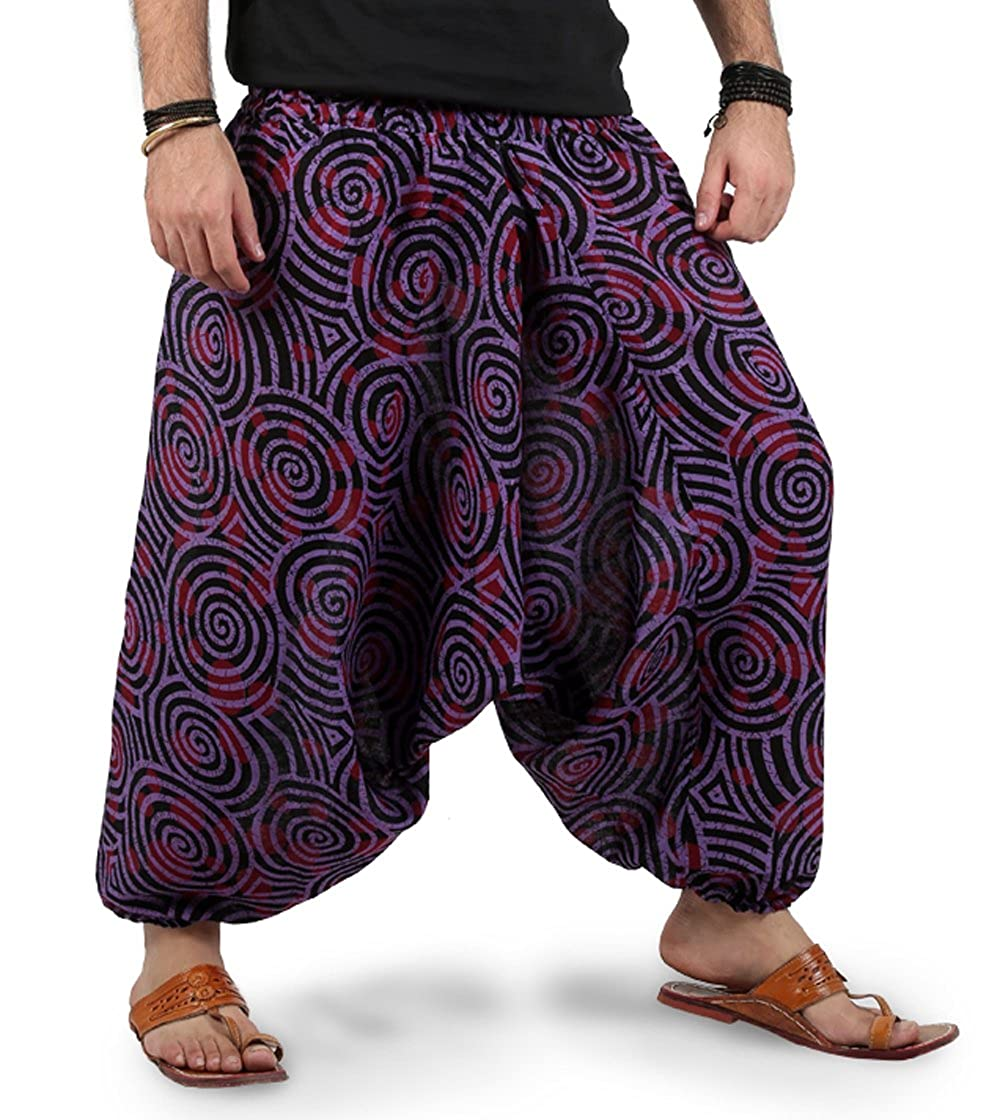 The Harem Studio Hombre Mujer Pantalones Harem Unisex Bombachos Ligeros, Hippies, de algodón, Casuales, Boho, Hechos a Mano para Yoga - Estilo Spiral