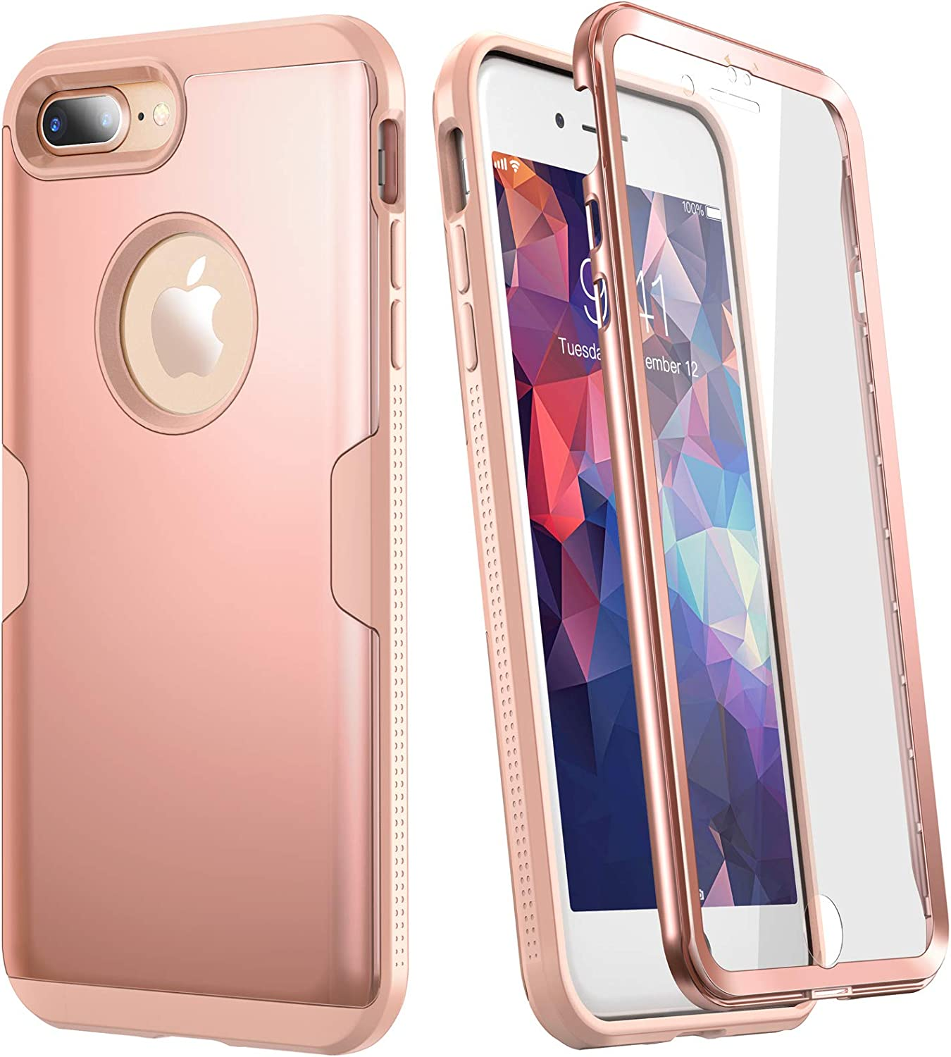 YOUMAKER Designed for iPhone 8 Plus Case & iPhone 7 Plus Case, Full Body Rugged with Built-in Screen Protector Heavy Duty Protection Slim Fit Shockproof Cover for iPhone 8 Plus (2017) 5.5 Inch - Pink