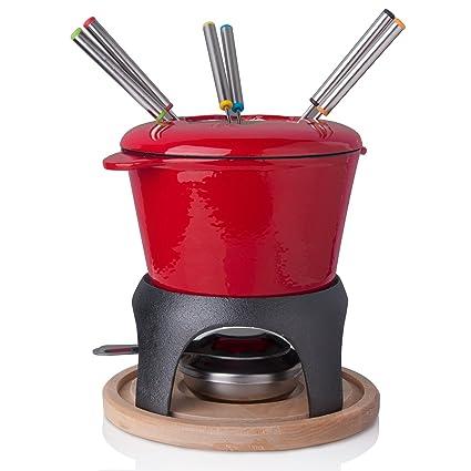Zen Kitchen Cast Iron Fondue Pot Set, Enameled Cast Iron Pot for Chocolate Fondue or