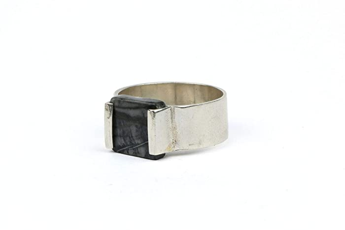 9666c7b969335 Amazon.com: Silver marble ring, square stone ring, cement jewelry ...
