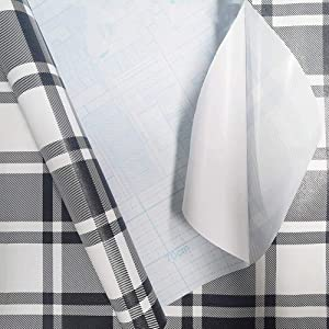 Taogift Self Adhesive Vinyl Black and White Plaid Shelf Drawer Liner Contact Paper Wallpaper for Cabinets Shelves Dresser Drawer Furniture Walls Crafts Decal Removable 17.7x98 Inches